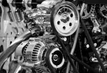 greyscale photography of car engine